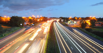 M6 motorway at night