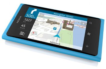 Nokia Lumia 800 with Nokia Drive sat nav software