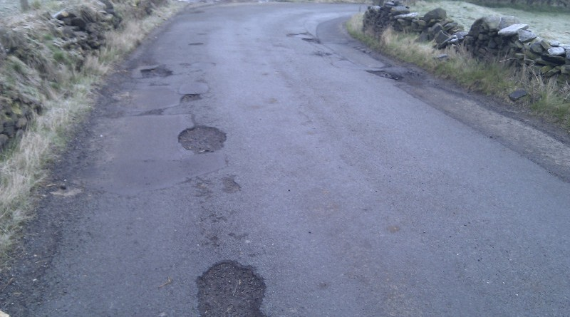 Country road with potholes
