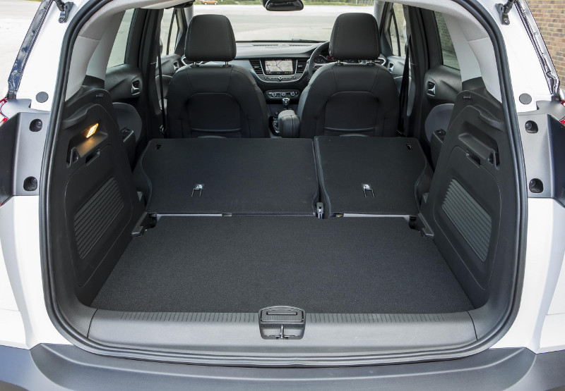 Vauxhall Crossland X boot with seats down