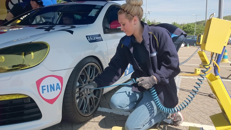 Michelin checking tyre pressures